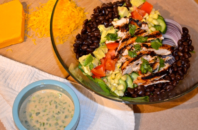 BBQ Chicken Southwest Salad with Creamy Cumin Dressing