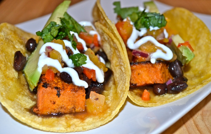Sweet Potato and Black Bean Tacos with Pineapple Salsa