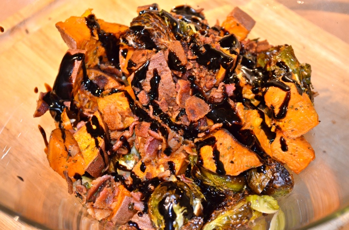 Balsamic, Bacon, Brussels Sprout and Sweet Potato Hash
