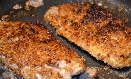 Pan-fried, Pecan, Coconut and Panko-crusted Rockfish with White Sauce