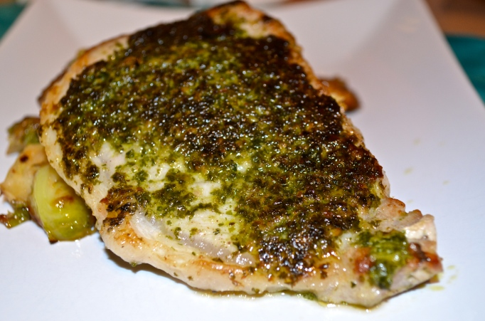Pesto Crusted Pork Chops