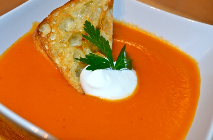 Roasted Red Pepper Soup with Garlic Crostini