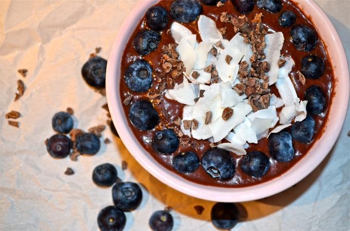 Chocolate Raspberry Acai Smoothie Bowl