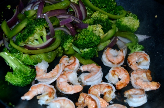 Shrimp Stir Fry with Sriracha-Peanut Sauce