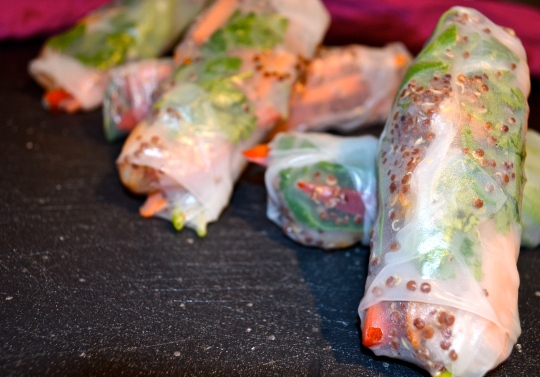 Shrimp and Quinoa Spring Rolls